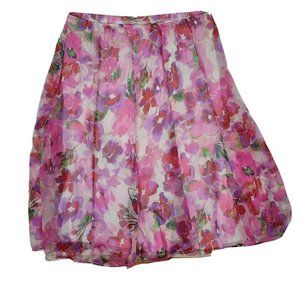 CHRISTOPHER & BANKS Pink Purple Floral Skirt XL